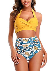 cheap -swimall women vintage swimsuit two piece retro halter ruched high waist bikini set tummy control push up swimwear(yellow, l/us (8-10))