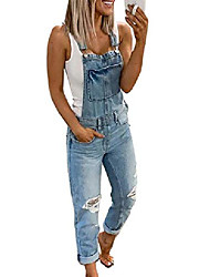 cheap -women's washed ripped hole denim overalls,womens super comfy stretch ripped denim overalls jumpsuit, blue xl
