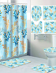 cheap -All Kinds of Colorful Flowers and Digital Printing Waterproof Fabric Shower Curtains for Bathroom Home Decoration Curtains with Hooks Bathroom Four-piece Set