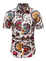 cheap -Men's Shirt Other Prints Abstract Short Sleeve Daily Tops 100% Cotton Red / White