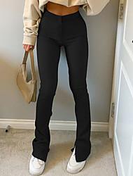 cheap -Women's Basic Fashion Comfort Pants Cotton Slim Casual Daily Pants Plain Full Length Wide Leg Split Gray Khaki Black Brown Beige