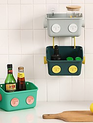 cheap -Hanging Basket Racks Nail-Free Plastic Robot Bathroom Racks Student Dormitory Bedside Hanging Basket Racks
