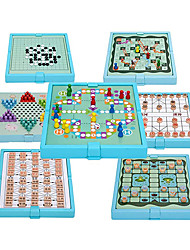 cheap -Wooden Children's Checkers Flying Chess Backgammon Table Multifunctional Chess Board Game & Chinese Checkers(7 in one Board)