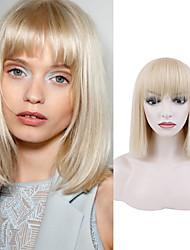 cheap -Natural Straight Short White Gold Wig Chemical Fiber Wig White Gold Qi Liuhai Fashion Short Hair Straight Hair Wig Headgear Trend Wig