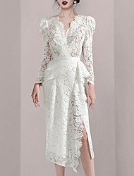 cheap -Sheath / Column Cut Out Sexy Wedding Guest Cocktail Party Dress V Neck Long Sleeve Tea Length Lace with Ruffles Split 2021