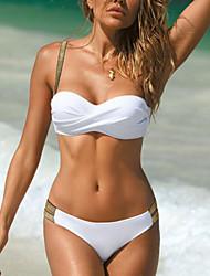 cheap -Women's Bikini Swimsuit Glitter Leaf White Black Red Wine Green Swimwear Padded Bathing Suits Sexy