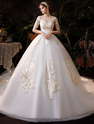 cheap -Princess Ball Gown Wedding Dresses Jewel Neck Chapel Train Lace Tulle Short Sleeve Formal Luxurious with Appliques 2021
