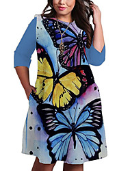cheap -Women's Plus Size Animal Print Casual 3/4 Length Sleeve Spring & Summer Knee Length Dress Shift Dress Blue Sky Blue