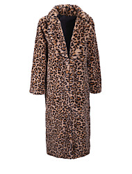 cheap -Women's Leopard Print Fall & Winter Faux Fur Coat Regular Daily Long Sleeve Faux Fur Coat Tops Khaki