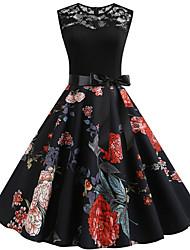 cheap -Women's A Line Dress Midi Dress Black Sleeveless Floral Summer Round Neck Elegant 2021 S M L XL XXL