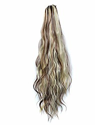 cheap -human hair clip wigs, mid-length high temperature silk ponytail wig sweet, clip on hair extension of length 60cm, soft thick, makeup tools for beauty doll (wig-k)