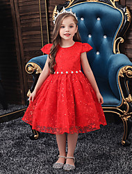 cheap -Princess / Ball Gown Knee Length Wedding / Party Flower Girl Dresses - Tulle Sleeveless Jewel Neck with Lace / Beading / Solid