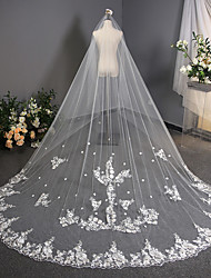 cheap -One-tier Flower Style / Lace Wedding Veil Cathedral Veils with Scattered Bead Floral Motif Style / Solid 118.11 in (300cm) Tulle