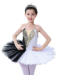 cheap -Ballet Dress Appliques Ruching Split Joint Girls' Training Performance Sleeveless Lace Tulle