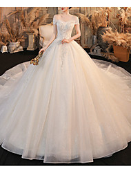 cheap -Princess Ball Gown Wedding Dresses Off Shoulder Chapel Train Lace Tulle Sequined Short Sleeve Formal Romantic Luxurious Sparkle & Shine with Beading Sequin Appliques 2021