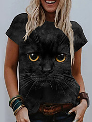 cheap -Women's 3D Cat T shirt Cat Graphic 3D Print Round Neck Tops Basic Basic Top Black