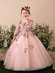 cheap -Princess / Ball Gown Floor Length Wedding / Party Flower Girl Dresses - Tulle 3/4 Length Sleeve Jewel Neck with Beading / Appliques