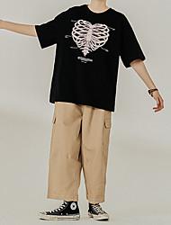 cheap -Men's T shirt Hot Stamping Graphic Prints Skull Print Short Sleeve Casual Tops 100% Cotton Basic Casual Fashion White Black