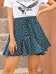 cheap -Women's Weekend Skirts Floral Wine Royal Blue