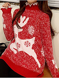 cheap -Women's Christmas Geometric Pullover Acrylic Fibers Long Sleeve Sweater Cardigans Crew Neck Fall Red