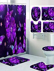 cheap -Purple Flower Butterfly Bathroom Shower Curtain Leisure Toilet Four-piece Set