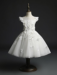 cheap -Princess / Ball Gown Short / Mini Wedding / Party Flower Girl Dresses - Tulle Cap Sleeve Jewel Neck with Beading / Appliques / Solid