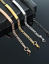 cheap -Chain Bracelet Cuban Link Birthday Stylish Simple Classic Steel Bracelet Jewelry 828 steel color brand width 5MM length 18CM / 828 models in black, width 5MM, length 18CM / 828 rose gold brand width