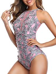 cheap -Women's One Piece Bikini Swimsuit Lace up Print Floral Geometric Blue Blushing Pink Swimwear Bandeau Bathing Suits
