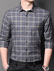 cheap -Men's Shirt Plaid Button-Down Long Sleeve Casual Tops Cotton Business Simple Blue Green Dark Green