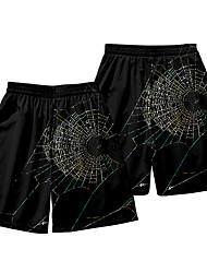 cheap -Men's Casual / Sporty Athleisure Daily Holiday Jogger Shorts Pants Spider web Short Elastic Waist 3D Print Black