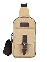 cheap -Unisex Bags Canvas Sling Shoulder Bag Buttons Zipper Plain 2021 Daily Outdoor Black Blue Khaki Gray