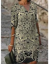 cheap -Women's A Line Dress Knee Length Dress Black Purple 3/4 Length Sleeve Print Print Spring Summer V Neck Work 2021 S M L XL XXL 3XL