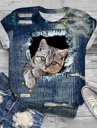 cheap -Women's Plus Size Tops T shirt Print Cat Graphic Animal Large Size Crewneck Short Sleeve Big Size XL XXL 3XL 4XL 5XL Blue