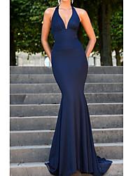 cheap -Mermaid / Trumpet V Neck Floor Length Spandex Bridesmaid Dress with Pleats
