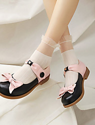 cheap -Girls' Flats Flower Girl Shoes Children's Day Princess Shoes PU Big Kids(7years +) Daily Bowknot Black Pink Fall Winter / Color Block