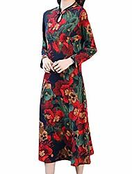 economico -risvolto elegante sexy delle donne retro cheongsam cinese, mini abito manica corta drago fenice stampa orlo diviso (stampa e tintura rosso, m)