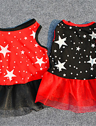 cheap -Cat Dog Dress Puppy Clothes Stars Casual / Daily Dog Clothes Puppy Clothes Dog Outfits Black Red Costume for Girl and Boy Dog Terylene XS S M L
