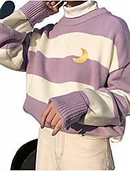 cheap -women striped moon long sleeve harajuku casual color block embroidery sweater pullover tops for teen girls purple