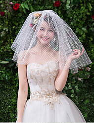 cheap -Two-tier Cute Wedding Veil Shoulder Veils with Scattered Bead Floral Motif Style Tulle