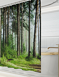 cheap -Shower Curtains with Hooks Rustic Forest Scenery Polyester Novelty Fabric Waterproof Shower Curtain for Bathroom