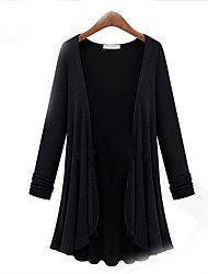 cheap -Women's Solid Colored Cardigan Cotton Long Sleeve Plus Size Oversized Sweater Cardigans Round Neck Fall White Black Khaki