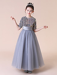 cheap -Princess / A-Line Jewel Neck Floor Length Tulle / Sequined Junior Bridesmaid Dress with Bow(s) / Pleats / Beading