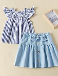 cheap -Kids Toddler Girls' Clothing Set Striped Short Sleeve Ruffle Print Blue Active Regular 2-6 Years