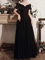 cheap -A-Line Off Shoulder Floor Length Tulle Bridesmaid Dress with Crystals / Bandage