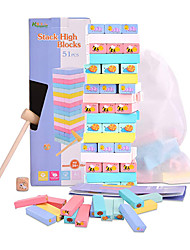 cheap -Colorful Jenga Game with Animal Painted - Tumble Tower Game Educational Toy for Kids 3 Years and Up - 51 Pieces Stacking Blocks with Storage Bag