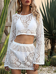 cheap -Women's Swimsuit Cover Up Rash Guard Swimsuit Mesh Lace Solid Color White Swimwear Crop Top T shirt High Neck Bathing Suits New Sexy