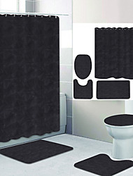 cheap -Plain Color Series 10 Digital Printing Four-piece Set Shower Curtains and Hooks Modern Polyester Machine Made Waterproof Bathroom