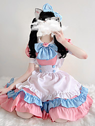 cheap -Lolita Maid Uniforms Cute Women's Japanese Cosplay Costumes Pink Solid Colored Above Knee / Dress / Apron