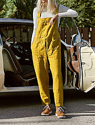 cheap -2020 european and american foreign trade new large size cotton and linen bib pants with pockets to adjust the jumpsuit, hot spot in stock