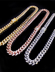 cheap -Women's Men's Statement Necklace Cuban Link Friends Trendy Alloy Rose Gold Silver Gold 55 cm Necklace Jewelry For Party Evening